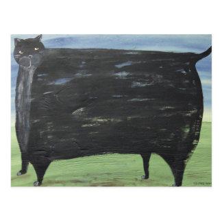 Folk Fat Cat Postcard