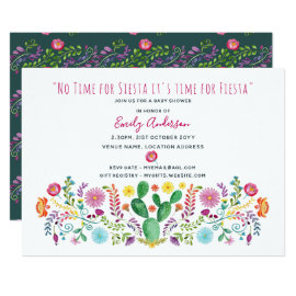 Folk Fiesta Baby Shower Invite Watercolor Cacti