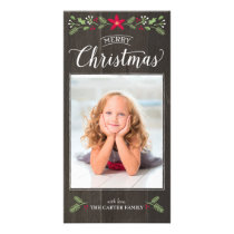 Folk Floral Christmas Photo Card