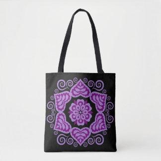 Folk Floral Design Fashion Tote - Purple
