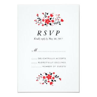 Folk Floral Stylish Wedding RSVP Card Red