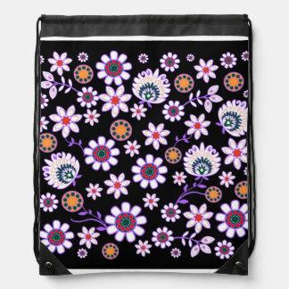 folk flower in dark background drawstring backpack