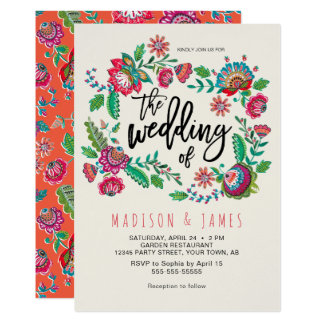 Folk Flowers | Boho Chic Wedding | Invitation