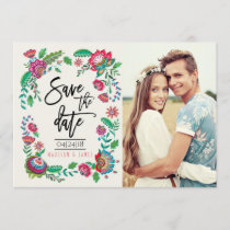 Folk Flowers | Photo | Save the Date | Invitation