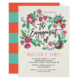 Folk Flowers | Stripe | Engagement | Invitation
