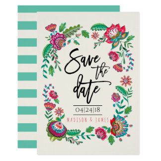 Folk Flowers | Stripe | Save the Date | Invitation