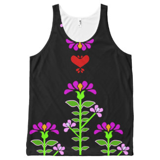 Folk Flowery Embroidery Style Floral Print Graphic All-Over Print Tank Top