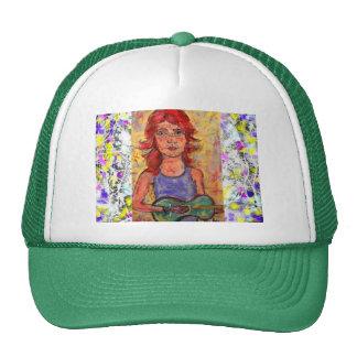 folk girl and colourful guitar drip trucker hat