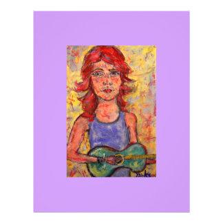 folk girl and colourful guitar flyer