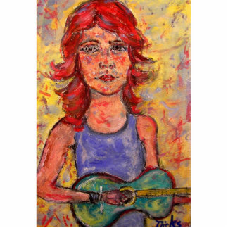 folk girl and colourful guitar standing photo sculpture