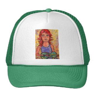 folk girl and colourful guitar trucker hat