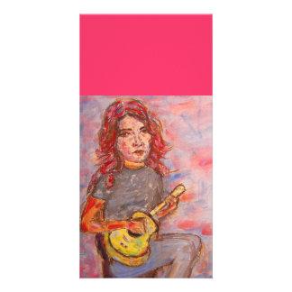 folk girl and ukulele card