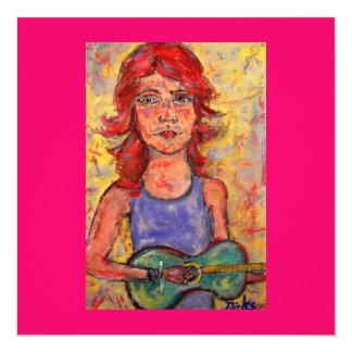 folk girl playing colourful guitar card