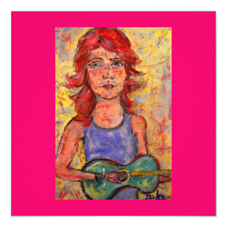 folk girl playing colourful guitar 5.25x5.25 square paper invitation card
