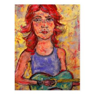 folk girl playing colourful guitar postcard