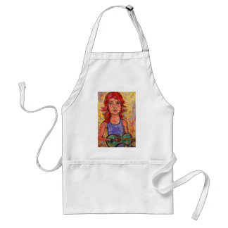 folk girl with colourful guitar aprons