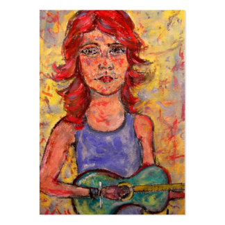 folk girl with colourful guitar business card template