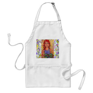 folk girl with colourful guitar drip aprons
