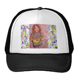 folk girl with ukulele drip trucker hat