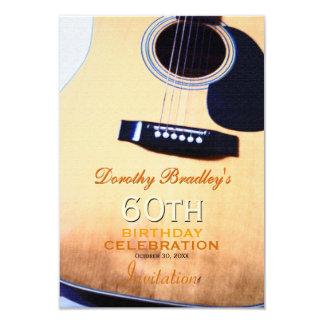 Folk Guitar 60th Birthday Celebration Custom 3.5x5 Paper Invitation Card