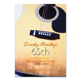 Folk Guitar 65th Birthday Celebration Custom Inv Card
