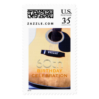 Folk Guitar Custom 60th Birthday Party Postage