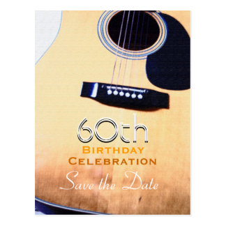 Folk Guitar Custom Save the Date 60th Birthday Postcard