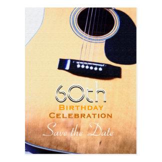 Folk Guitar Custom Save the Date 60th Birthday Postcard