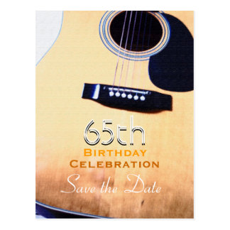 Folk Guitar Custom Save the Date 65th Birthday Postcard