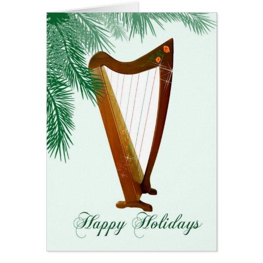 Folk Harp Christmas Card