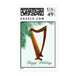 Folk Harp Christmas Postage