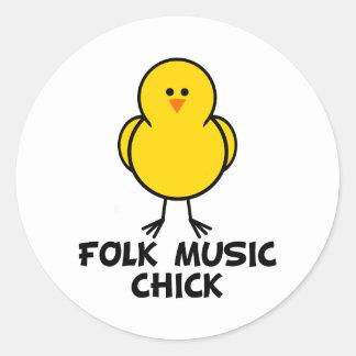 Folk Music Chick Classic Round Sticker