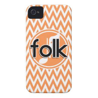 Folk Music; Orange and White Chevron iPhone 4 Case-Mate Case