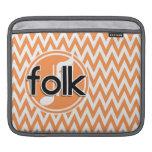 Folk Music; Orange and White Chevron Sleeves For iPads
