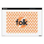 Folk Music; Orange and White Chevron Laptop Skins
