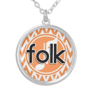 Folk Music; Orange and White Chevron Necklaces