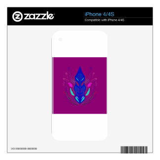 Folk Ornaments purple blue Decal For iPhone 4