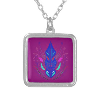 Folk Ornaments purple blue Silver Plated Necklace