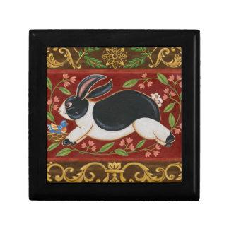 Folk Rabbit Trinket Box