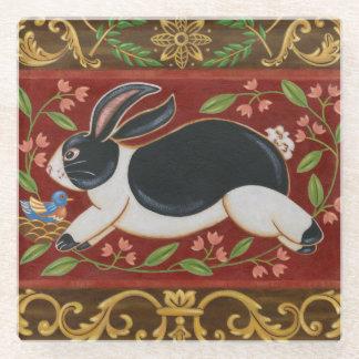 Folk Rabbit Glass Coaster