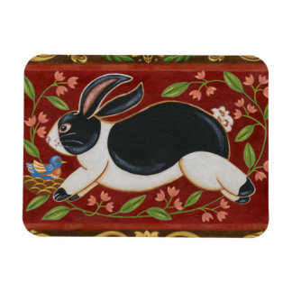 Folk Rabbit Rectangular Photo Magnet