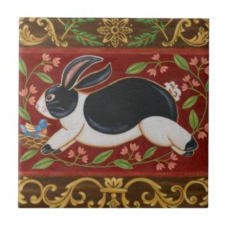Folk Rabbit Small Square Tile