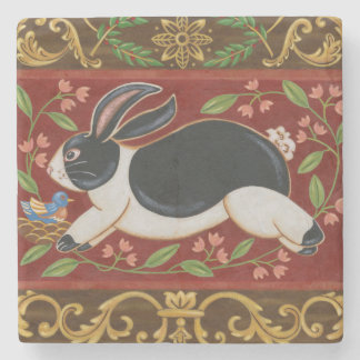 Folk Rabbit Stone Coaster