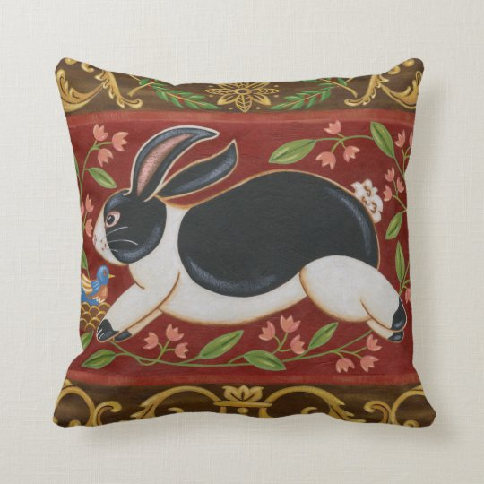 Folk Rabbit Throw Pillow Zazzle Com