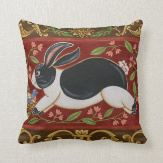 Folk Rabbit Throw Pillow