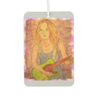 folk rock girl art car air freshener