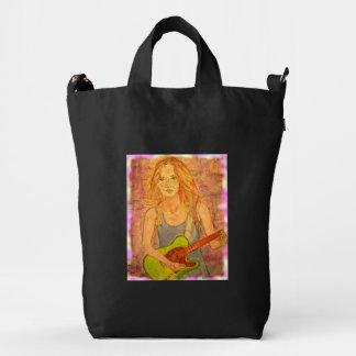 folk rock girl art duck bag