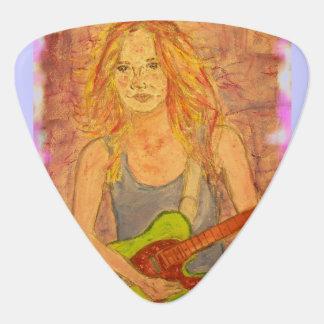 folk rock girl Art Guitar Pick