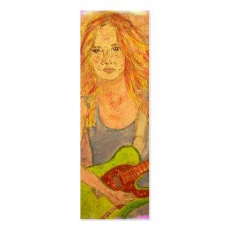 folk rock girl art mini business card