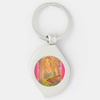 folk rock girl Art Silver-Colored Swirl Metal Keychain